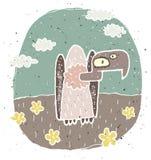 Illustration grunge tirée par la main de vautour mignon sur l'esprit de fond Images libres de droits