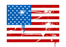 Illustration of a grunge USA flag. On white Stock Image