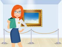 Guide in the art gallery Royalty Free Stock Photos