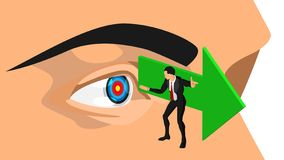 The illustration of a guide shows the direction of focus on the target vector illustration