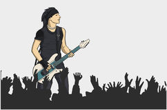 Illustration of guitar player performing on stage. Stylized drawing of bass player on stage with crowd in foreground Royalty Free Stock Images