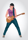 Illustration of a guitar player. Simple art for web and print design appealing for music theme Stock Photography