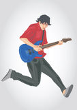 Illustration of a guitar player. Simple art for web and print design appealing for music theme Royalty Free Stock Photos