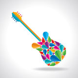 Illustration of guitar shape with colorful abstract Royalty Free Stock Photo