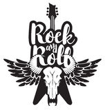 Illustration with guitar, skull of bull and wings. Vector illustration with an electric guitar and skull of bull and wings with inscription rock and roll Royalty Free Stock Image