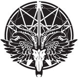 Illustration with guitar, skull of goat and wings. Vector illustration with an electric guitar and skull of goat and wings on the background of satan star Stock Image