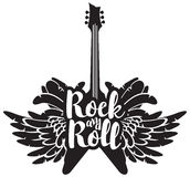Illustration with guitar, wings and feathers. Vector illustration with an electric guitar, wings and feathers with inscription rock and roll Stock Image