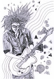 Illustration-Guitarist. Guitarist playing posture , the world of music Royalty Free Stock Images