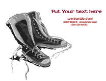 Illustration of gumshoes. Sneakers. IllustrIllustration of gym shoes. Gray sneakers on white background. Image with place for textation of gumshoes. Sneakers royalty free illustration