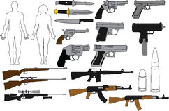 Illustration guns and rifles. Illustrations of differ various rifles and pistols Royalty Free Stock Image