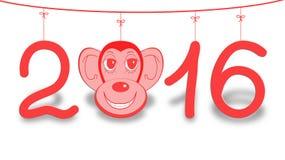 Illustration 2016-guten Rutsch ins Neue Jahr-Hintergrund mit Affen Lizenzfreies Stockfoto