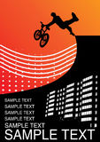 Illustration with guy on a bmx. Vector wallpaper Stock Photography