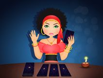 Gypsy woman with tarot cards royalty free illustration