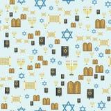 Illustration hébreue de vecteur de juif de modèle d'église de judaïsme de Hanoucca de pâque religieuse sans couture traditionnell illustration de vecteur
