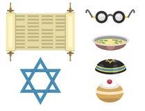 Illustration hébreue de vecteur de juif de symboles d'église de judaïsme de Hanoucca de pâque religieuse traditionnelle de synago illustration stock