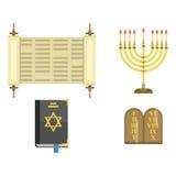 Illustration hébreue de vecteur de juif de symboles d'église de judaïsme de Hanoucca de pâque religieuse traditionnelle de synago illustration de vecteur