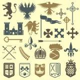 Illustration héraldique de vecteur d'insigne de château de crête de chevalier d'éléments de vintage de symbole médiéval royal hér illustration libre de droits