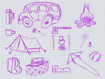 Illustration of hadwritten set to trip Royalty Free Stock Image