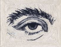 Illustration of halftone eye with white string, art craft copy space, horizontal aspect royalty free stock image