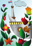 Illustration hallo from Holland. Hallo from Holland illustration with floral ornaments, ship and lighthouse Stock Photo