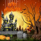 Halloween background with castle and scarecrow. Illustration of Halloween background with castle and scarecrow Royalty Free Stock Image