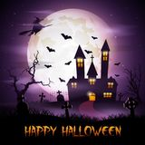 Halloween background with fly witch and scary church on graveyard Royalty Free Stock Photography