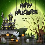 Halloween background with graveyard and castle. Illustration of Halloween background with graveyard and castle Stock Photography
