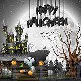 Halloween background with graveyard and castle. Illustration of Halloween background with graveyard and castle Stock Images