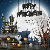 Halloween background with graveyard and castle. Illustration of Halloween background with graveyard and castle Stock Image