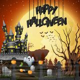 Halloween background with graveyard and castle. Illustration of Halloween background with graveyard and castle Royalty Free Stock Photos
