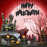 Halloween background with graveyard and castle. Illustration of Halloween background with graveyard and castle Stock Photos