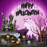 Halloween background with graveyard and castle. Illustration of Halloween background with graveyard and castle Royalty Free Stock Photo