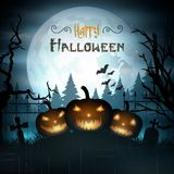 Halloween background with pumpkins on graveyard Stock Images