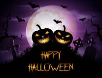 Halloween background with pumpkins on graveyard Royalty Free Stock Images