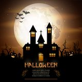 Halloween background with pumpkins and scary church on graveyard Stock Photo