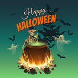 Illustration for a Halloween with a bonfire, a skeleton, ghosts and bats. Royalty Free Stock Image