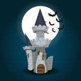 Illustration of Halloween Castle with moon and bat Royalty Free Stock Images