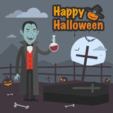 Illustration Halloween Dracula holds tube of blood Royalty Free Stock Photography