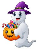 Halloween ghosts holds pumpkin bag full candy. Illustration of Halloween ghosts holds pumpkin bag full candy Royalty Free Stock Photography