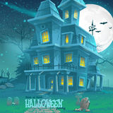 Illustration for Halloween haunted house for a party Stock Photography