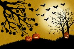 Illustration of Halloween landscape with pumpkins in the dead grass. The moon shines bright and the bats fly hunting for insects. Trees bats and grass are vector illustration