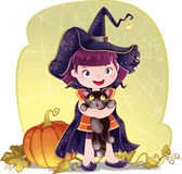 Illustration for Halloween with a little cute witch, cat and pum Stock Images