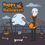 Illustration Halloween maniac killer holding chainsaw Stock Images