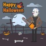 Illustration Halloween maniac killer holding chainsaw Stock Images