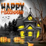 Halloween night background with church and scary pumpkins Stock Photography
