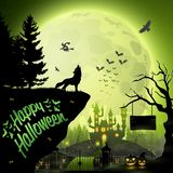 Halloween night background with roaring wolf. Illustration of Halloween night background with roaring wolf Royalty Free Stock Photos