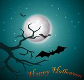 Halloween night with bats and tree stock illustration