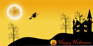 Halloween night cartoon vector illustration