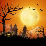 Halloween night with pumpkins and ghost. Illustration of Halloween night with pumpkins and ghost Stock Images
