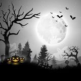 Halloween night with pumpkins and ghost. Illustration of Halloween night with pumpkins and ghost Stock Image